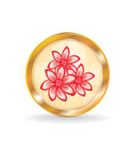 Golden circle label (button) with flowers Stock Image