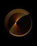 Golden circle in motion, rotating Royalty Free Stock Photography