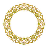Golden Circle Ornament. Round photo frame.Gold glitter. Background Royalty Free Stock Photos
