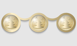 Golden circles  with the Christmas tree Stock Images