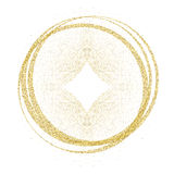 Golden circles and rings. Decoration design element of gold foil gilding texture. Festive background for New Year and. Christmas cards ornaments. Sparkling Royalty Free Stock Photos