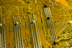 Golden Circuit board Stock Photo