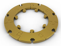 Golden circular jigsaw,circular puzzle on white background with clipping path Royalty Free Stock Image