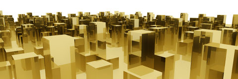 Golden city. Abstract golden blocks city on white background Royalty Free Stock Images