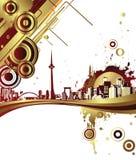 Golden City. Illustration of golden design city Royalty Free Stock Photography
