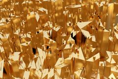 Golden city abstract space background. 3d Illustration.  Stock Photo