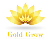 Golden flower logo design Royalty Free Stock Image