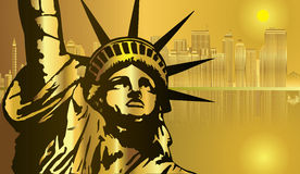 Golden City New York and Statue of Liberty vector Stock Photos