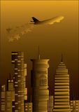 Golden city with a plane and stars Stock Image