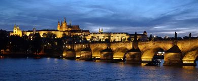 Golden city Prague by night Royalty Free Stock Photography