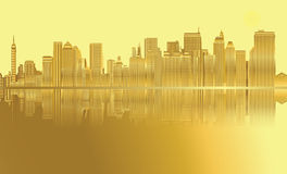 Golden City skyline New York vector Stock Images