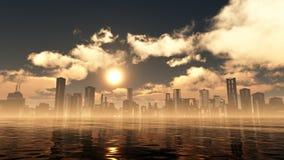 Golden City Sunset Royalty Free Stock Image