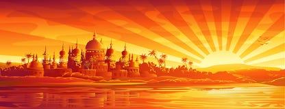 Golden city under golden sky vector illustration