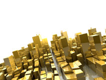 Golden cityscape. 3d golden cityscape isolated on white background Royalty Free Stock Image