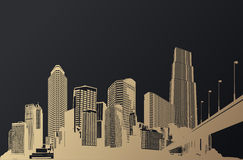 Golden cityscape with skyscrapers and bridge. Stock Photos