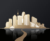 Golden cityscape with skyscrapers and road. Stock Image