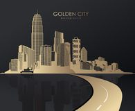 Golden cityscape with skyscrapers. Royalty Free Stock Photography