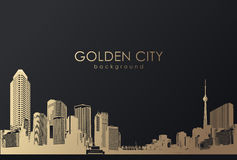 Golden cityscape with skyscrapers. Royalty Free Stock Photo