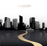 Golden cityscape with skyscrapers. Stock Images
