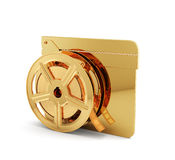 Golden clapper board with film reel. 3d render of golden clapper board with film reel  on white background Royalty Free Stock Image