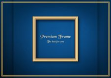 Golden classic frame on blue gradient background. Stock Image