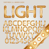 Golden Classic Light Bulb Alphabet and Digit Vecto Royalty Free Stock Photography