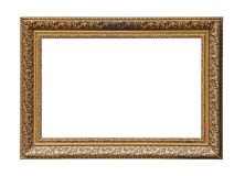 Golden classic painting canvas frame. Classic golden painting canvas frame isolated on white background royalty free stock photo