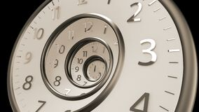 Golden Classic Round Clock with time hands turn backward infinity. 3D Render