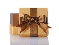 Free Golden Classic Shiny Open Gift Box With Brown Satin Bow Stock Images - 105589284