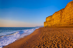 Golden cliffs at West Bay on the Jurassic Coast of Dorset Englan Royalty Free Stock Photo