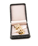 Golden clip in box Stock Images
