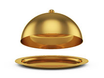 Golden cloche. 3d render of opened golden cloche, isolated on white background Stock Photo
