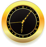 Golden clock. Vector golden clock with roman numbers Royalty Free Stock Photos
