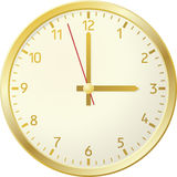 Golden clock. Siple sircle golden clock with digits Royalty Free Stock Photo