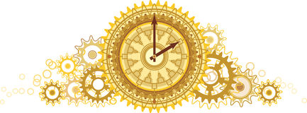 Golden clock. (bright color illustration Royalty Free Stock Photography