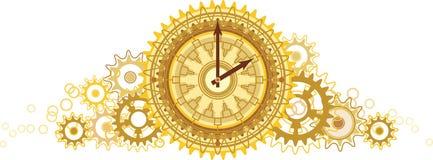 Golden clock. (bright color illustration royalty free illustration