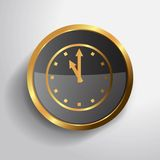 Golden clock  button Stock Photography