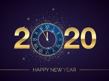 Free Golden Clock Dial With Numbers 2020 On Magic Christmas Background. New Year Countdown And Chimes. Five Minutes Before Twelve Royalty Free Stock Images - 162806399