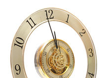 Golden Clock with gears. On white Royalty Free Stock Images