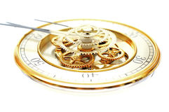 Golden Clock with gears. On white Stock Image