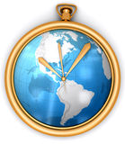 Golden clock with global map Stock Photos