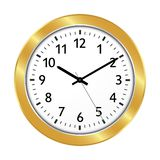 Golden Clock Icon with Classical 10 Past 10 Adjustment royalty free illustration