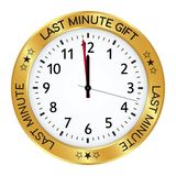 Golden Clock. Last Minute Gift One Minute Before Twelve vector illustration