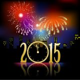 Golden clock for new year over fireworks background. On black background Stock Image