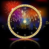 Golden clock for new year over fireworks background royalty free illustration