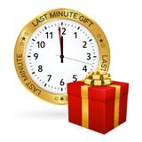 Golden Clock - Red Gift Box and Last Minute Gift Icon. Golden Clock with Last Minute Gift Imprint and Red Present in Front of it. Shiny Metallic Icon for Online stock illustration