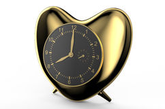 Golden clock in the shape of heart. Isolated on white background Royalty Free Stock Images