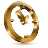 Golden clock symbol Royalty Free Stock Photography