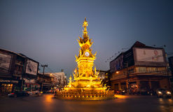 Golden clock tower in Chiang Rai Stock Photo