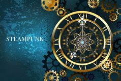 Golden clock on a turquoise background Royalty Free Stock Images